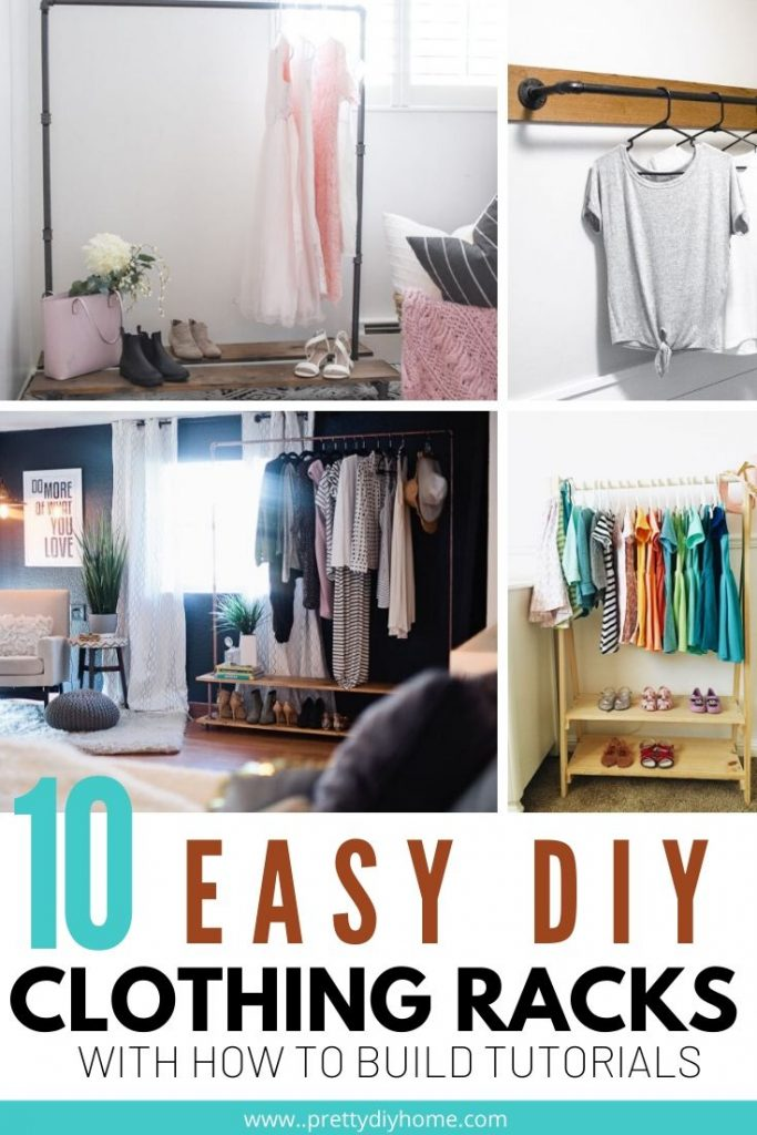 Ten different DIY clothing racks with tutorials,. Made out of pipe or wood, some have shelves.