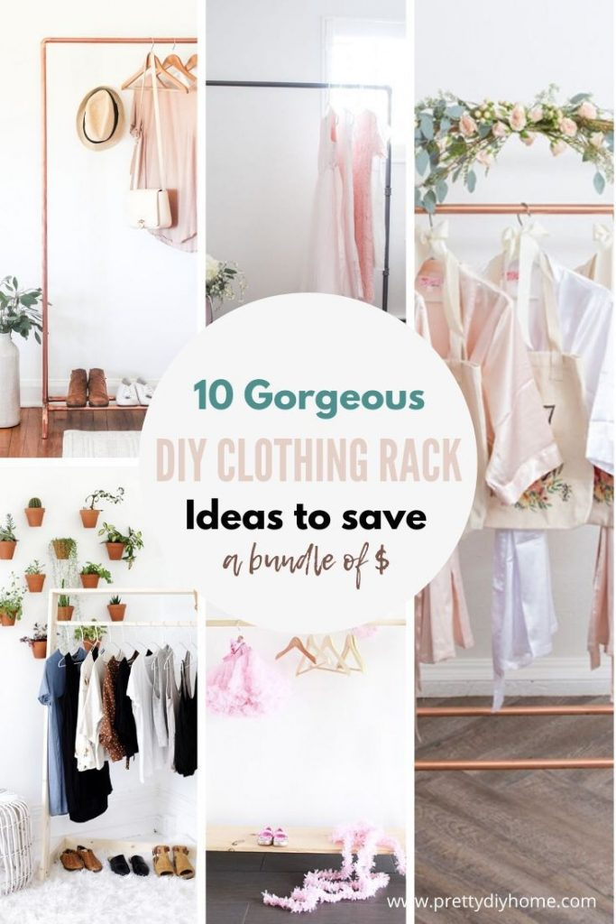 A collection of 10 different DIY clothing racks made from wood and or piping.