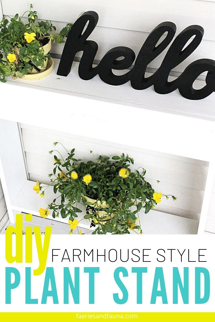 A DIY farmhouse style plant stand in white, with yellow pansies in yellow pots.
