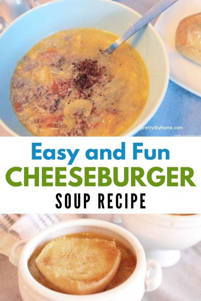 Creamy homemade soup in a bowl one with toasted bun and a second picture without the toasted bun. Its hamburger soup with tomatoes and cheese sauce.