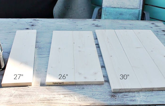1 by six lumber cut to length and sorted before building a small porch table.