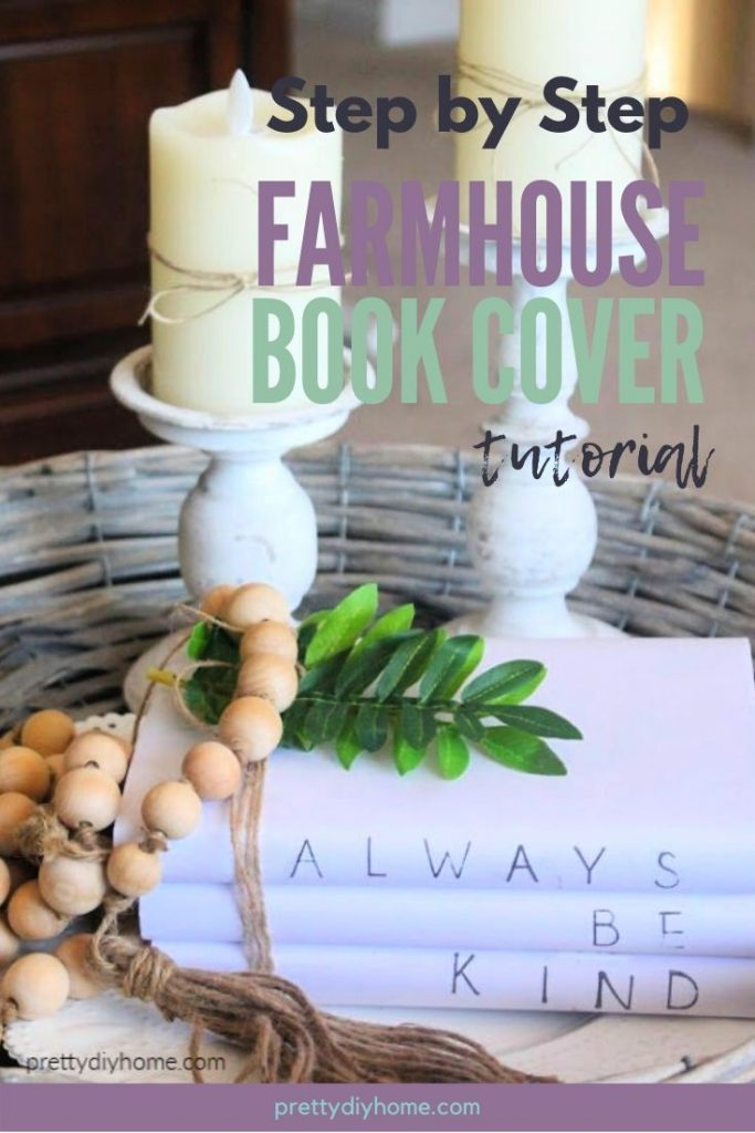 DIY Stamped book covers in bundles with farmhouse beads, twine ribbon and candlesticks.