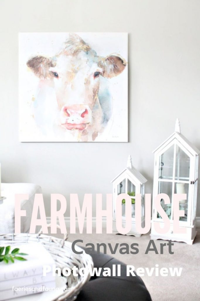 Beautiful watercolor canvas of a farmhouse cow face. The cow is in pretty soft pastel colours.
