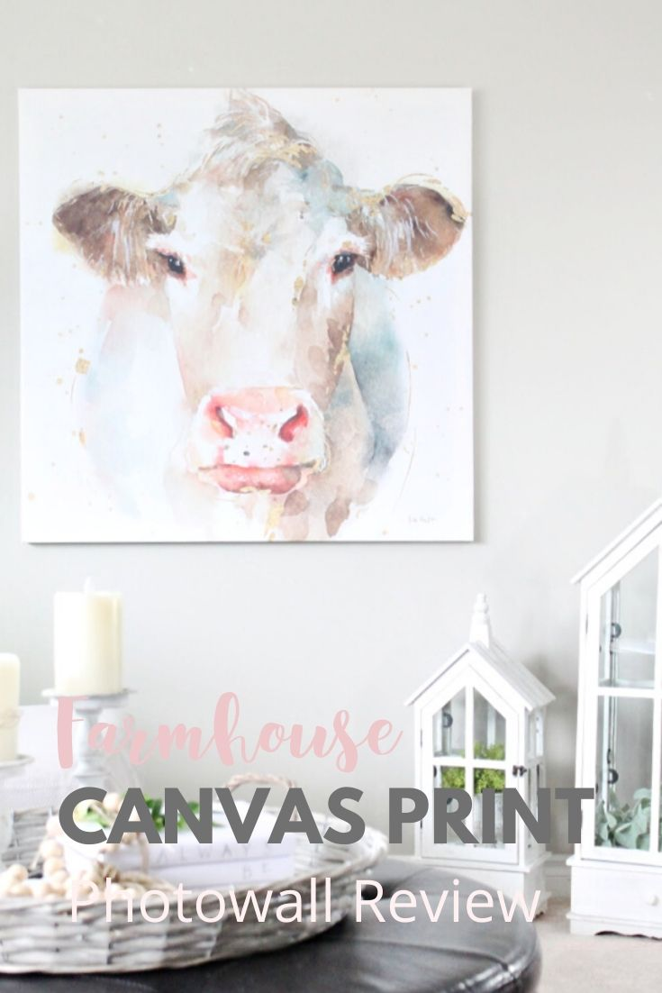 A large canvas cow print in pretty modern farmhouse colours, with white living room accessories.