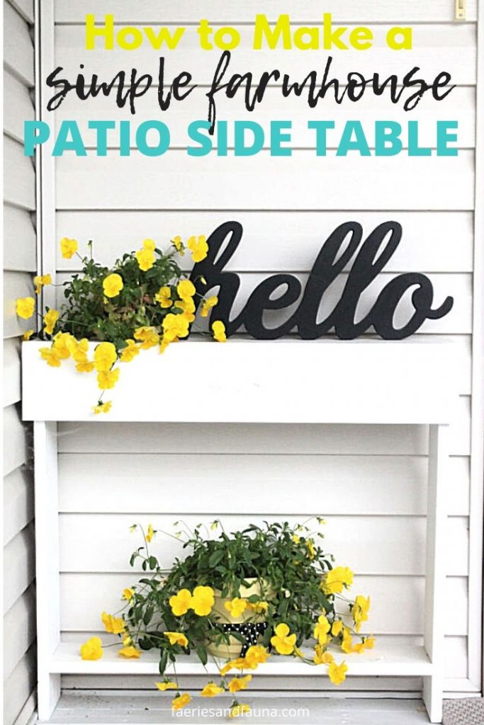 A simple to build patio side table in white with yellow pansies.
