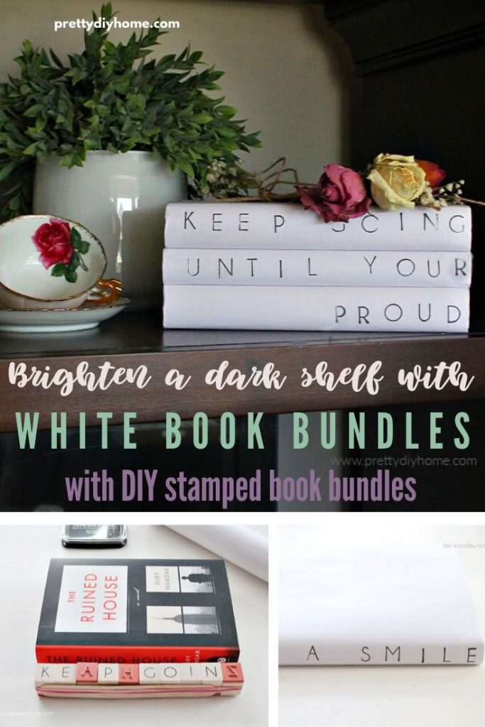 A dark cabinet is brightened with white farmhouse book stacks for decorating.