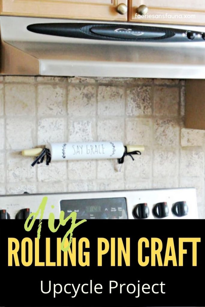 A full sized vintage rolling pin painted and turned into a kitchen sign. A simple to do rolling pin craft upcycle idea using black and white paints.