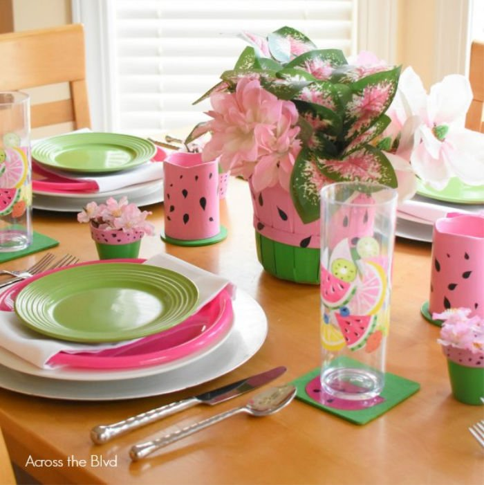 Bright pink and green dollar store watermelon themed tablescape.