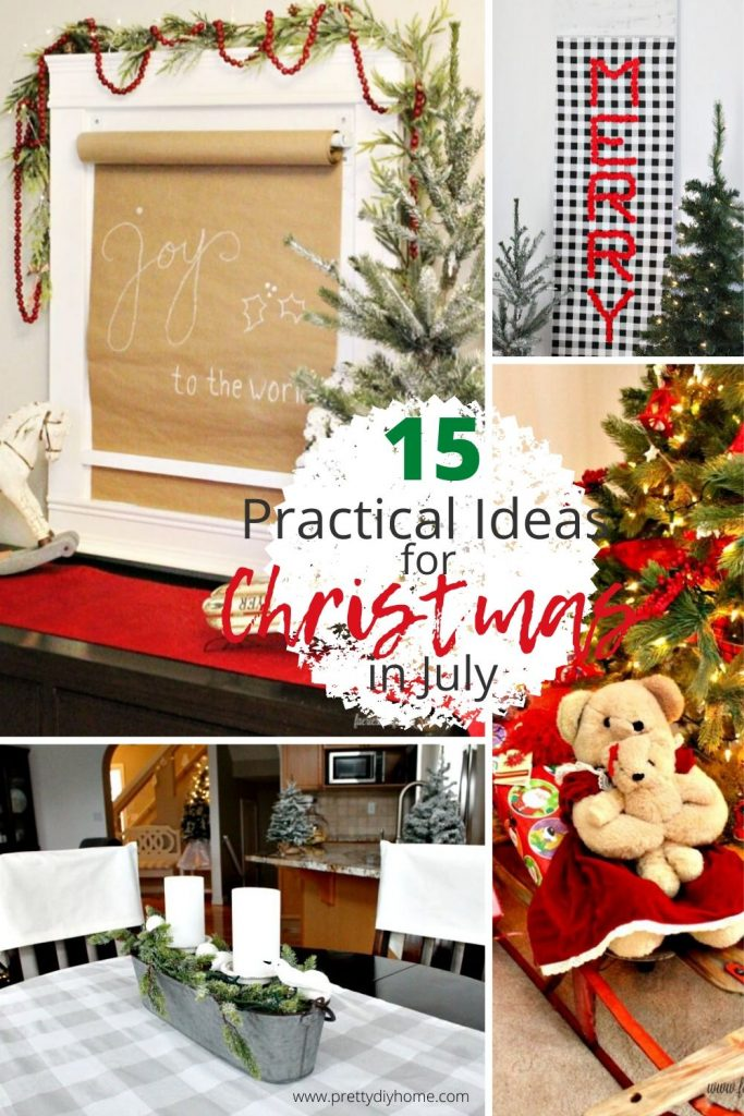 15 practical ideas for Christmas in July including Christmas DIY backdrop ideas, garage sale ideas, vintage collectible ideas and Christmas shopping ideas.