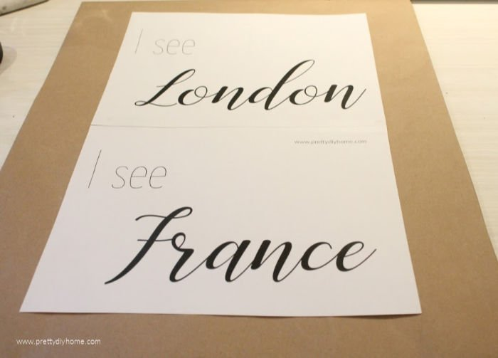 Centering I see London and I see France printable template on brown paper.