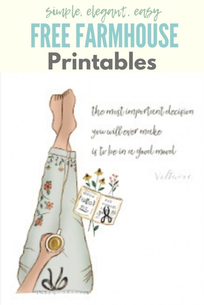 A free farmhouse printable of a womans legs with a pretty book and a quote on mood.