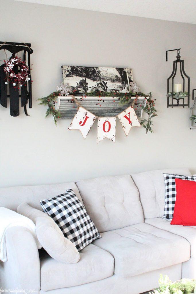Farmhouse shelf on the wall for Christmas decor