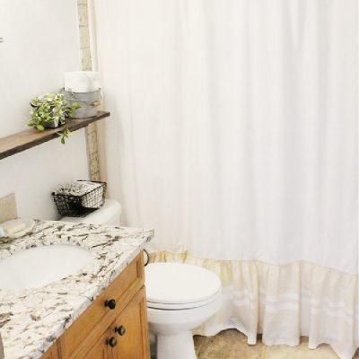 DIY Farmhouse Shower Curtain with Muslin Grain Sack Stripes