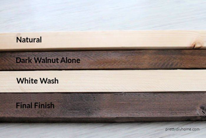 Various wood finishes for a Farmhouse DIY Bathroom Bench