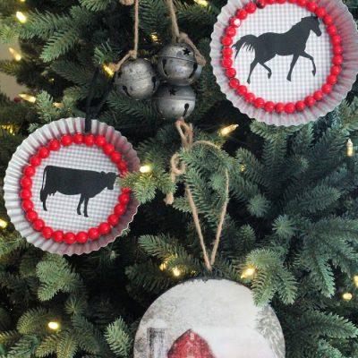 Galvanized DIY Farmhouse Christmas Ornaments
