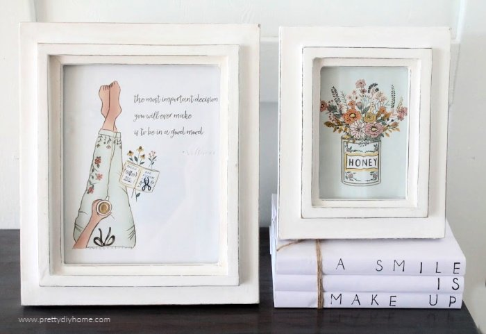 Two farmhouse printables in pretty feminine colours with motivational sayings.
