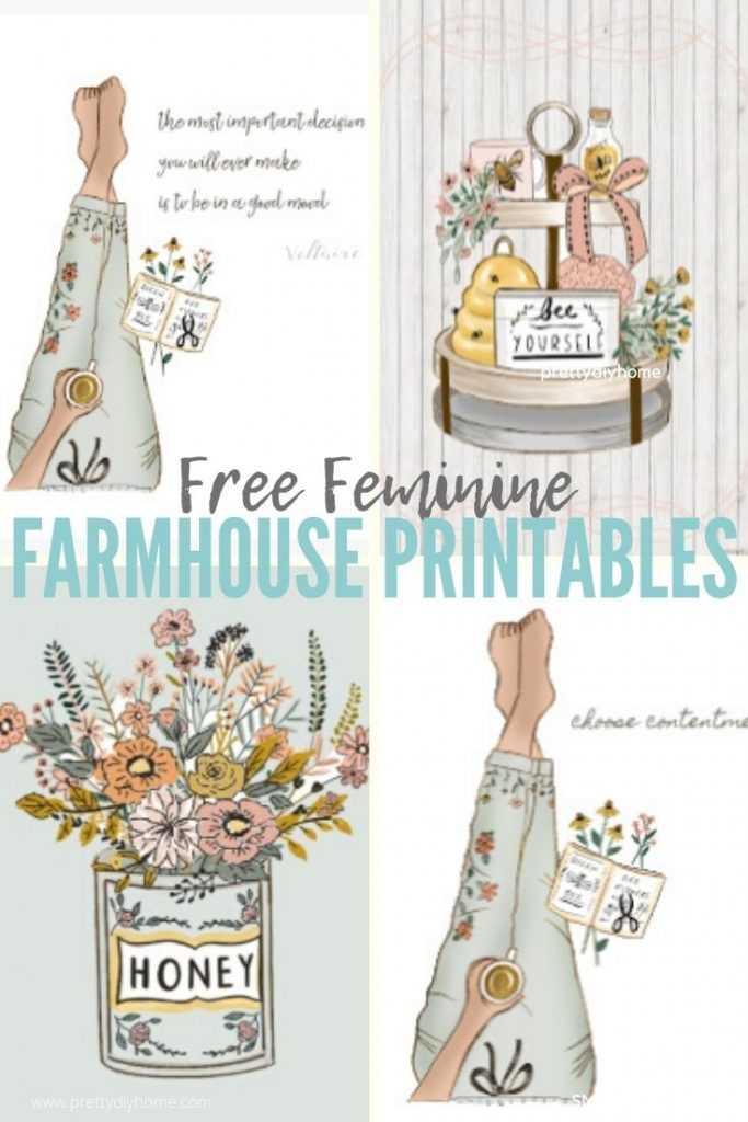 Four different farmhouse printables in soft pastel colours with flowers and quotes.