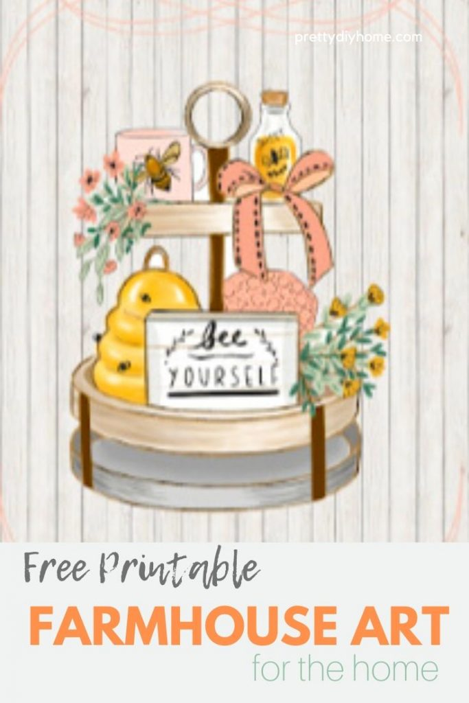 A pretty tiered tray free farmhouse printable with a Bee theme, in soft peaches and cream colours.