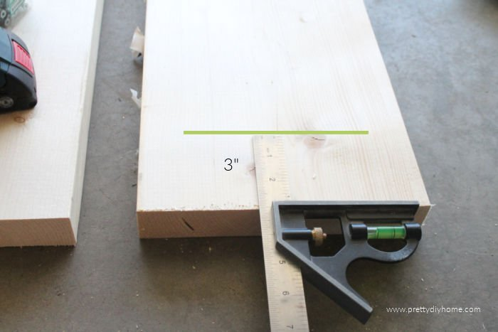 Measuring the placement of supports on wooden DIY bench