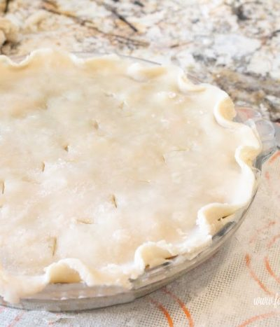 Unbaked pie crust ready for the oven