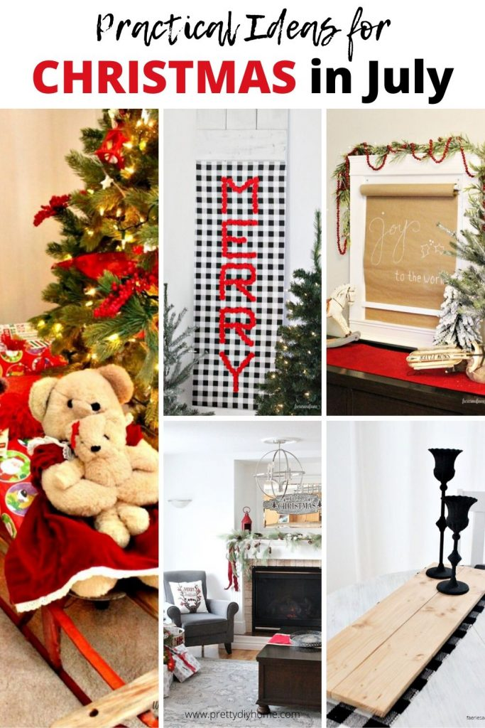 A collection of practical ideas for Christmas in July, DIY windows, DIY table risers, DIY backdrops.