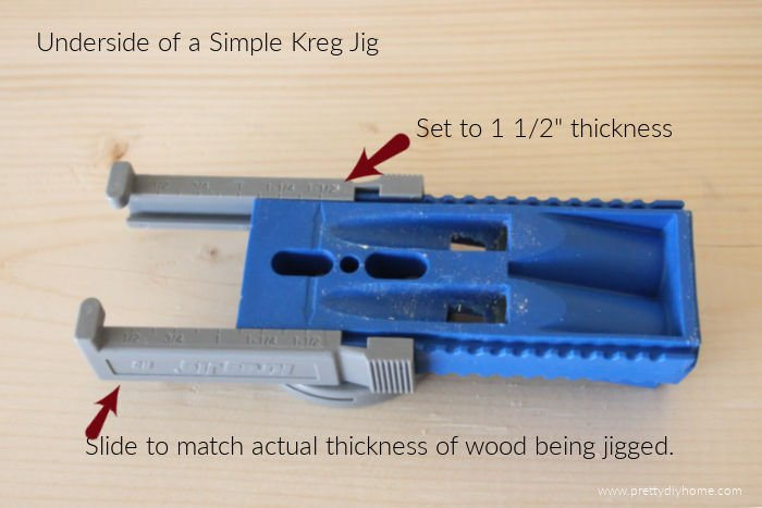 The underside of a Kreg jig showing how to use the slider to adjust for wood thickness.