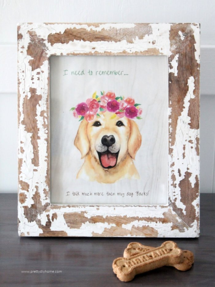 A free pet printable in a frame that says but you talk more than I bark.