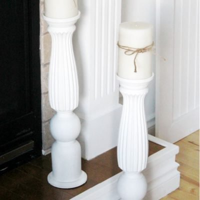 Upcycled Large DIY Candle Holders from Old Table Legs