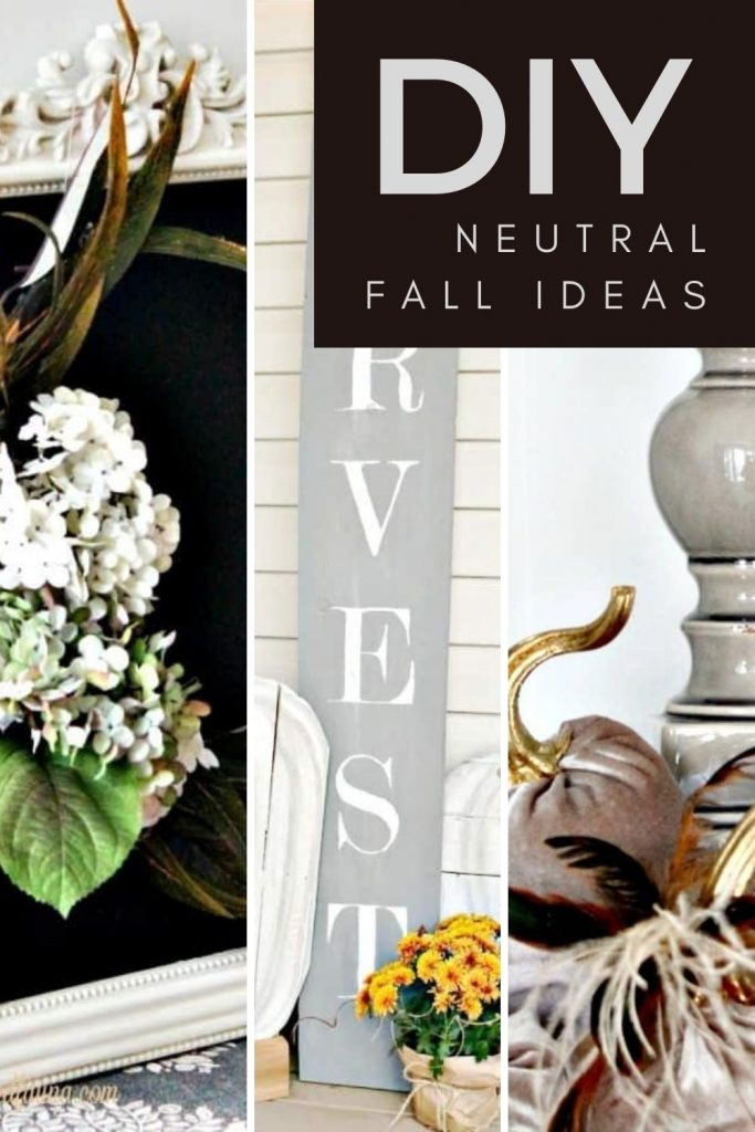 A collection of DIY Fall Crafts in Neutral colours, wood pumpkin, front porch, and chalkboards
