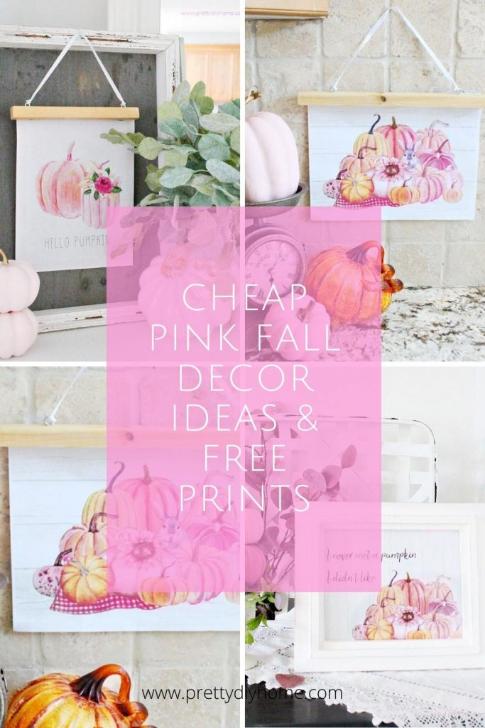 Collage of four different pink pumpkin pinable vignette decor ideas for Fall.