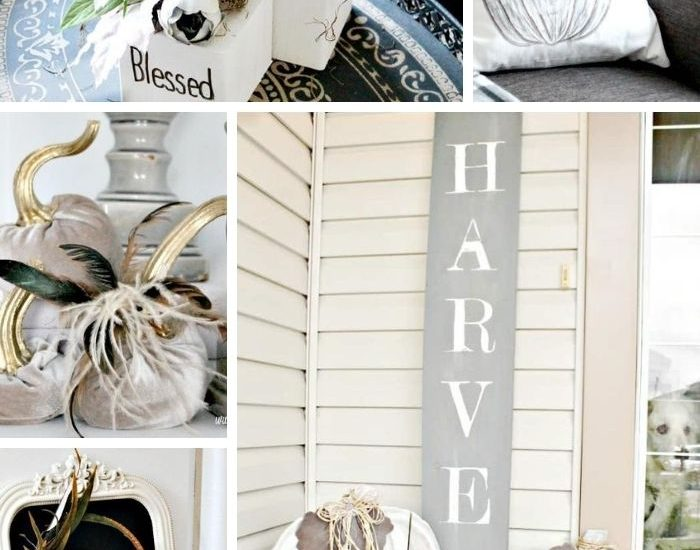 A collection of neutral fall decor projects including pumpkins, wreaths, and had made cushions