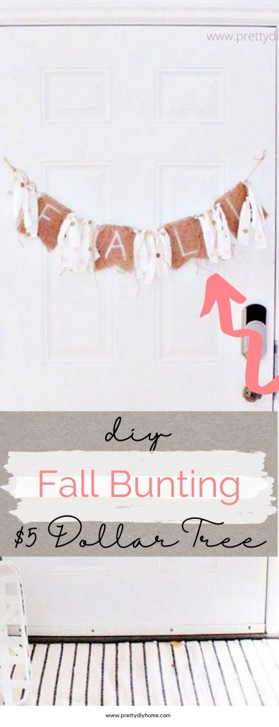 A burlap Fall bunting with pink polka dotted fabric ribbon, twine, and burlap bunting. The Bunting is hanging on a white door and there are pink mums and pink pumpkins at the base.