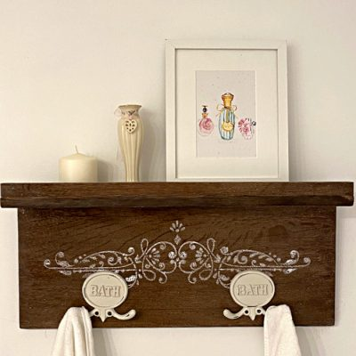 Upcycling an Old Table into a DIY Farmhouse Shelf for the Bathroom