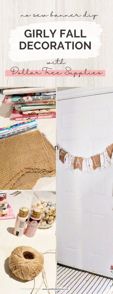 A collage showing how to make an easy Dollar Tree burlap and fabric banner craft for Fall
