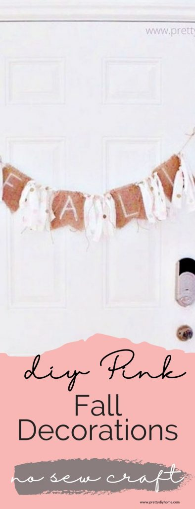 Pink Fall decorations for the front door, including how to make a pink polka dot rag banner with burlap, and add pink pumpkins and mums