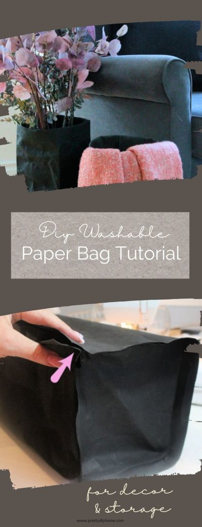 Two images, of sewing a Uashmama copycat washable paper bag in black and dark grey. They bags look like faux leather and are holding pink Fall decor.