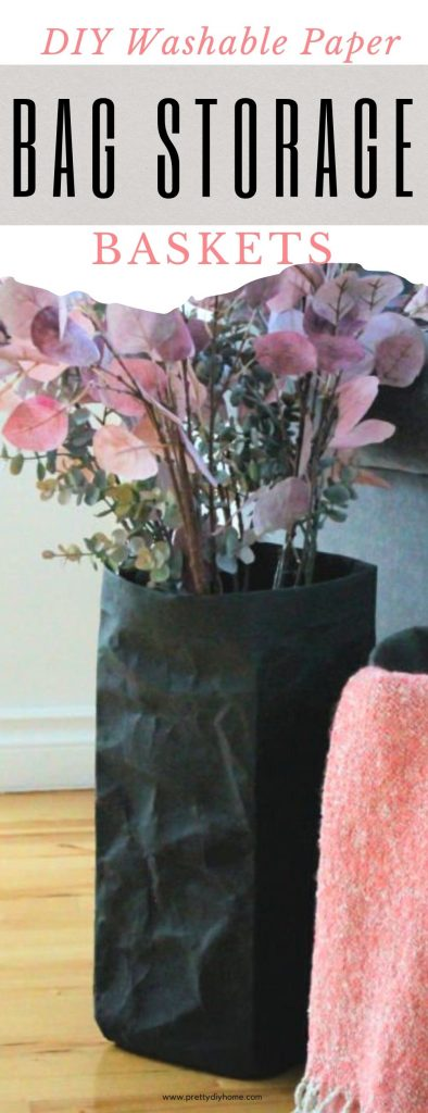 Two DIY washable paper bags holding pretty pink flowers and a soft coral coloured throw for Fall decorating.