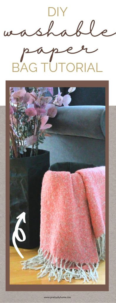 DIY washable paper bag in the living room for Fall decor. The easy sewing project is black with soft pink Fall decor and throw.