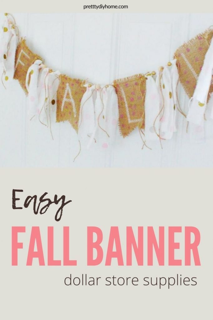 A DIY Fall Craft Banner featuring burlap with pink polka dots, curly twine tassles and pink rag tassles.