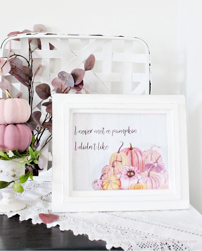 Pretty Pink Pumpkin Fall Printable in a white frame with pink themed Fall decor