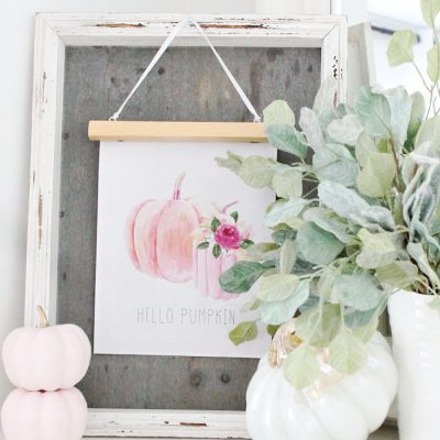 Free Pink Pumpkin Printables and Easy Farmhouse DIY Hanger