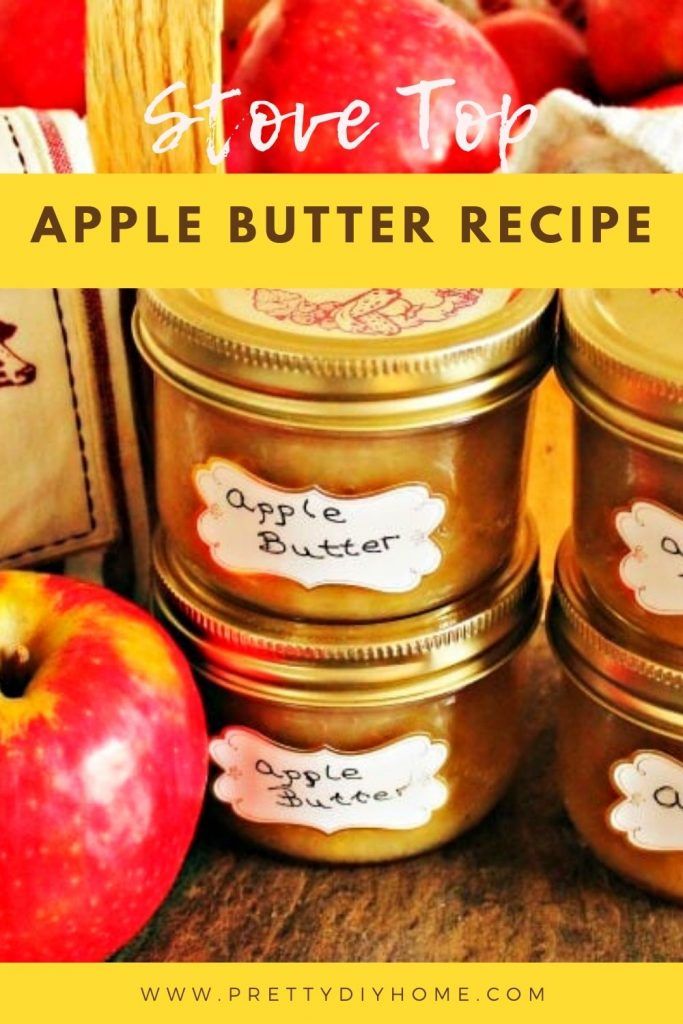 Stove top homemade apple butter recipe in canning jars.