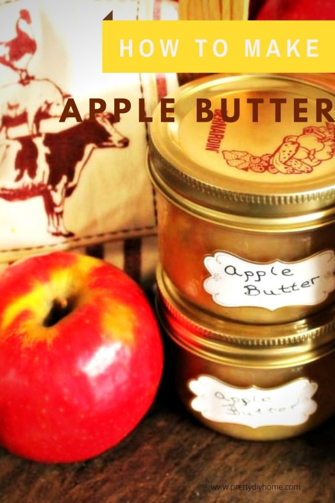 Homemade Apple Butter Recipe in canning jars with label.