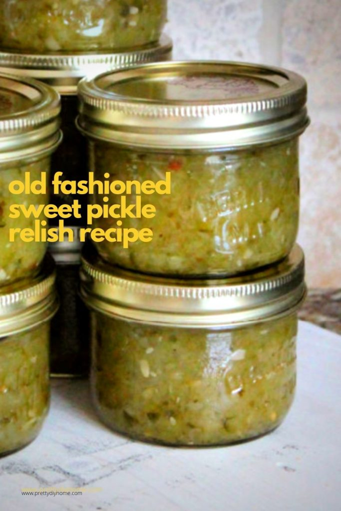 Jars of homemade sweet pickle relish made with onions, cucumbers and pickling spices.