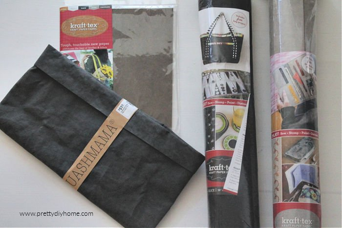 Uashmama bag and three types of kraft tex washable paper for DIY faux leather bags, and crafts