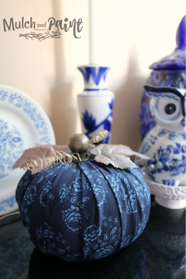 easy DIY fabric pumpkin in blue