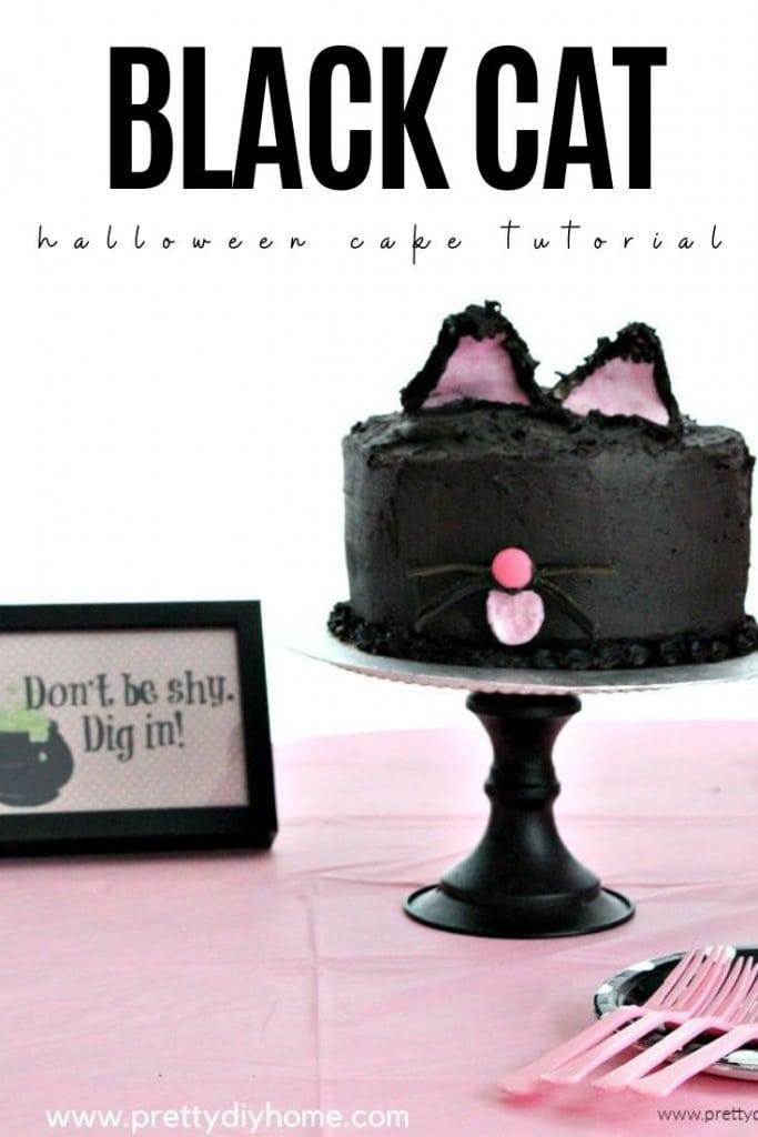 A dark chocolate cake decorated as a black cat.