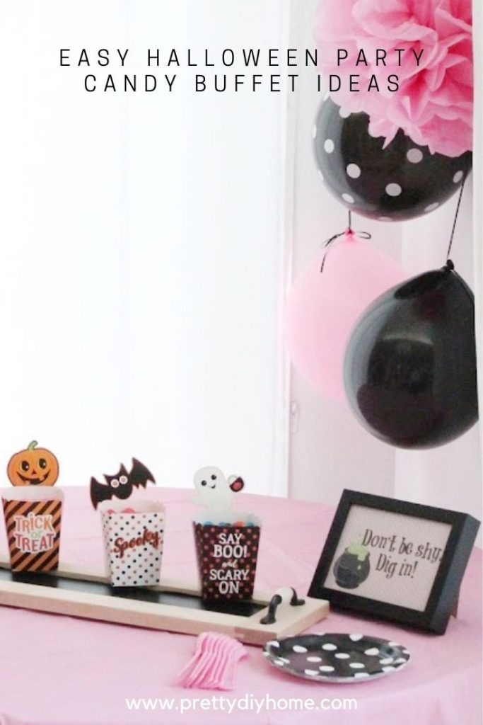 Halloween Party Candy Buffet with pink printables.