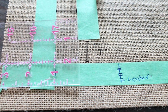 Making a Letter L Stencil for a DIY Fall Burlap Banner for decorating a Fall Front porch
