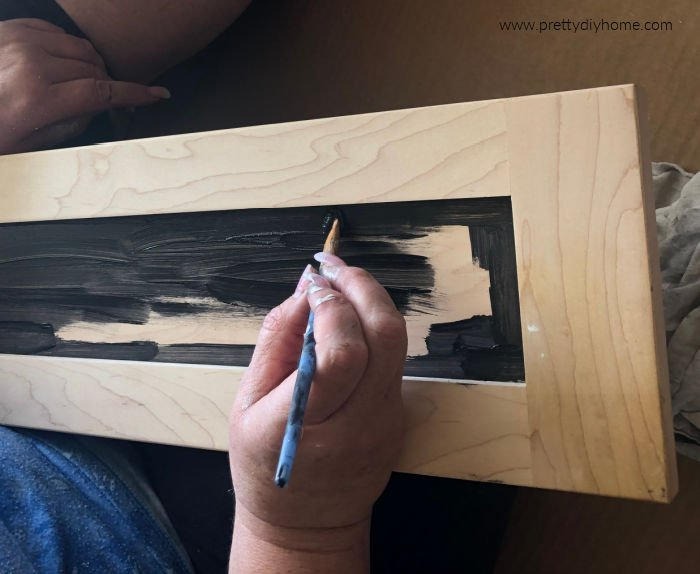 Painting a DIY serving tray with chalkboard paint
